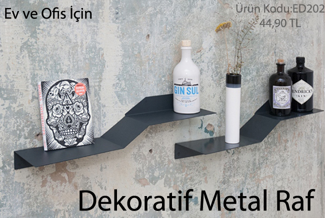 dekoratif duvar metal rafları